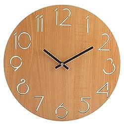 Wall Clock Silent, XSHION Wood Wall Clock Battery Operated Non Ticking 12 Inch Decorative Wall Clocks Arabic Numerals Modern Design (Light Brown)