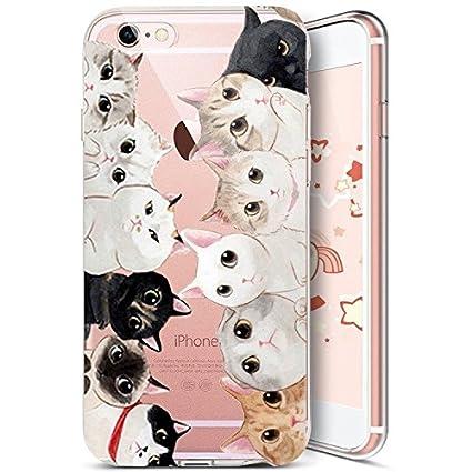 d1db03a89ad Funda para iPhone 7,iPhone 8 Carcasa,Uposao Funda Transparente Silicona  Case Cover Funda Con Dibujos Animados Gato ...
