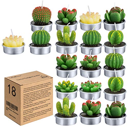 COCOMOON Cactus Tealight Candles(18 Pcs Gift Boxed), Artificial Succulents Decorative Tea Light Candles,Perfect for Birthday Wedding Party Home Decor