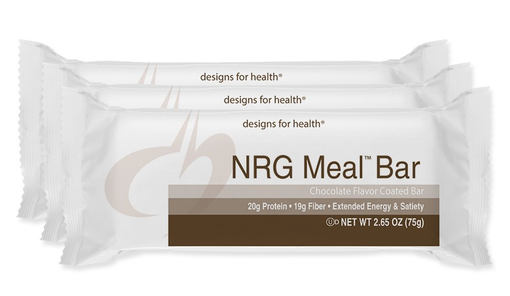 Designs for Health - NRG Meal Bar - Energy Support + High Protein + Prebiotic Fiber + CoQ10, 12 Bars