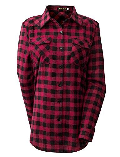 Per Yidarton Classica Camicia Rosso Camicetta Donna Manica A Tasca Quadro Bottone Lunga Blusa ggPxp