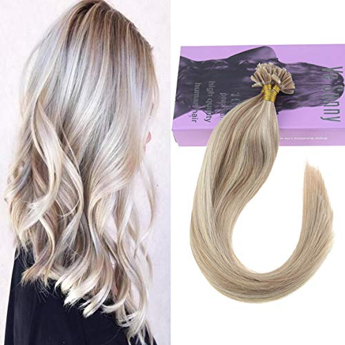 VeSunny 20inch Pre Bonded U Tip Human Hair Extensions Color #18 Ash Blonde Mixed #613 Bleach Blonde U Tip Extensions Remy Human Hair 1g/s 50g Per Package