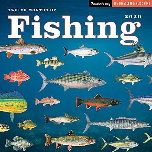 Twelve Months of Fishing Wall Calendar 2020 Monthly January-December 12'' x 12