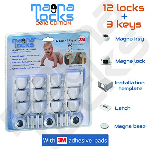 CHILD SAFETY CABINET LOCKS - 2018 Edition - By Magna Locks - Home Baby-proof Kit ⎯ Hidden Protection Design - Quick & Easy Installation With Template - (12 Lock + 3 Key (Child Protection Kit)