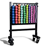 CAP Barbell SDN4 Colored Neoprene Aerobic Hex Dumbbell Club Pack (456 lbs) with RK-10 Storage Rack for Group Fitness