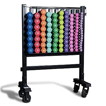 Cap Barbell SDN4 Colored neopreno aeróbico hexagonal recubierto Club Pack (456 libras) con rk-10 almacenamiento rack para grupo Fitness: Amazon.es: Deportes ...