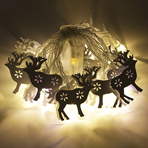 20 LEDs 10Ft Reindeer String Lights By BeautyKate Battery Operated LED String Lights For Indoor, Bedroom, Curtain, Home, Wedding, Holiday, Christmas Tree, Party (Warm White) (10' Reindeer)