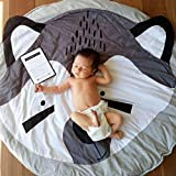 CieKen Children's Baby Game Blanket Cartoon Animal Fox Round Carpet Floor Play mat Infant Blanket Play Game Mat Environmental Anti-Slip Machine Washable Rugs Childre Room Decoration (Gray)