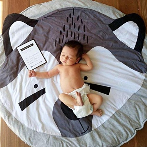 CieKen Children's Baby Game Blanket Cartoon Animal Fox Round Carpet Floor Play mat Infant Blanket Play Game Mat Environmental Anti-Slip Machine Washable Rugs Childre Room Decoration (Gray) by CieKen
