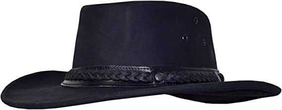 Outdoor Leather Hat Australian Style Hat Western Country Cowboy *054 Black