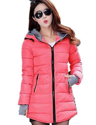Abrigo manga largo liso polipropileno Casual TT mujer ShangYi acolchado larga Simple amp; de claro algodón Azul nqnY4w7H