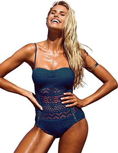 GRAPENT Women Navy Blue Lace Crochet Halter Strap One-Piece Bathing Suit Swimsuit Swimwear US 6 ()
