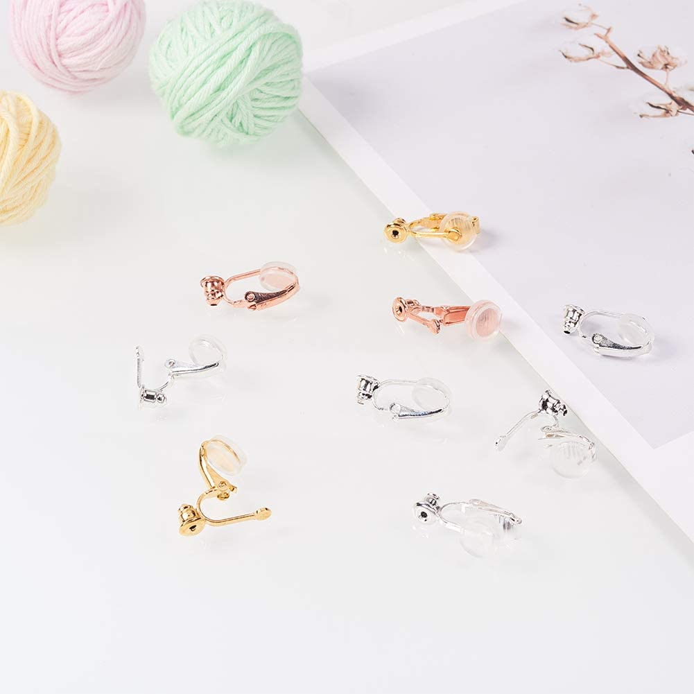 PH PandaHall 30pcs 3 Colors Brass Clip-on Earring Converter with 30pcs Silicone Earring Pads Earring Components Non-Pierced Ear Hoops for Earring Jewelry Making Findings