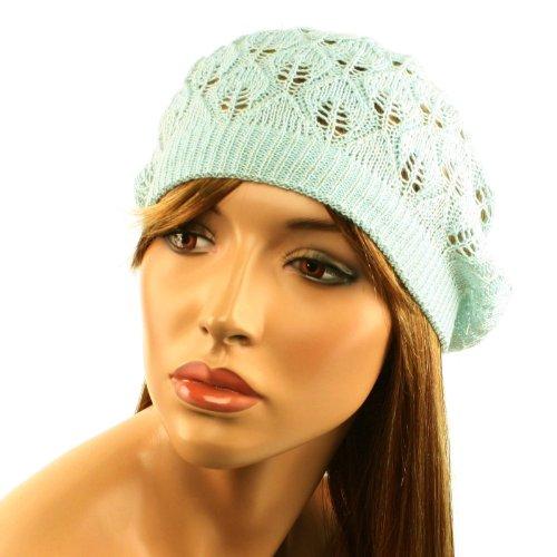 - Pastel Pointelle Vented Soft Knit Lurex Shimmer Beret Beanie Hat Cap Tam Lt Blue