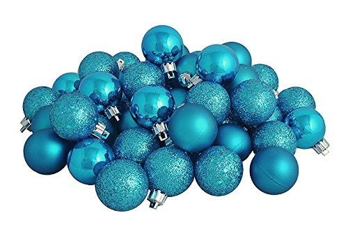 Northlight 31753517 60 Count Shatterproof Turquoise Blue 4-Finish Christmas Ball Ornaments, 2.5''