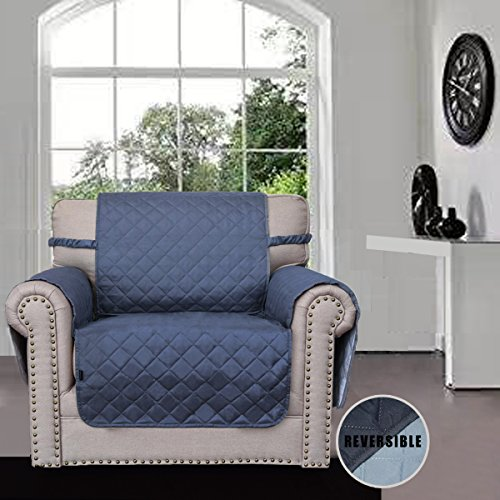 Sofa Covers, Slipcovers, Reversible Quilted Furniture Protector, Improved Anti-Slip Cover with Elastic Strap and Foam, Micro Fabric Couch Shield, Pet Cover by Easy-Going (Chair, Dark Blue/Light Blue) (Chair Blue Easy)