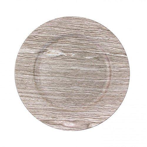 Koyal Wholesale 424677 Faux Wood Charger Plates, Birch