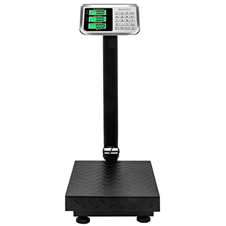 Goujxcy 100KG/220lbs Weight Electronic Platform Scale,Digital Floor Heavy Duty Folding Scales,LCD Display, Perfect for Postal Luggage Shipping Mailing ...