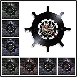 TBACE Wall Clock Marine Nautical Ship Steering Wheel Wall Clock Vintage Vinyl Record Wall Clock Watches Anchor Wall Decor for Living Room Bedroom@White_12_Inch_Without_Led
