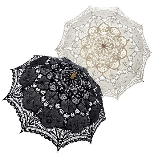 TopTie 2 PCS Lace Umbrellas Parasol Wedding Bridal Photograph Decoration Costume Accessories