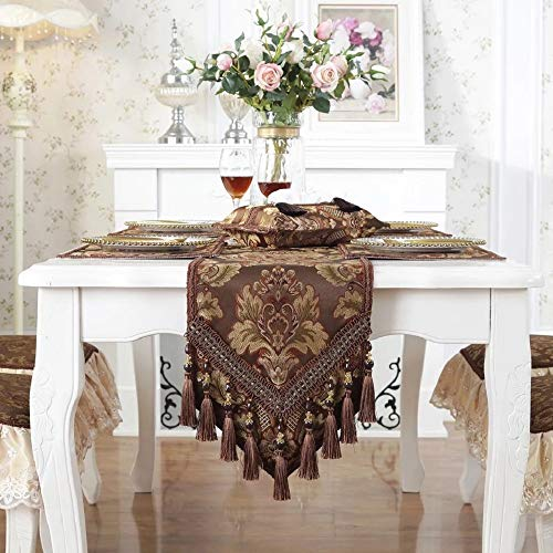 Minimal Life Modern Luxury Jacquard Damask Floral Table Runners Dresser Scarves with Multi-Tassels Table Runner (Coffee-1, 13x77inch)