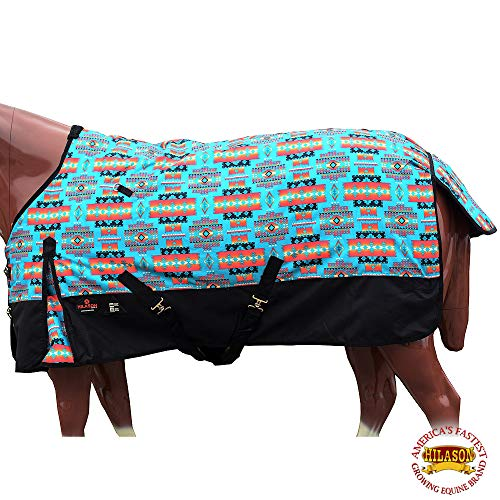 """HILASON 78"""" 1200D Poly Waterproof Turnout Winter Horse Blanket Turquoise Aztec from HILASON"""