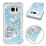 Samsung S7 Edge Cover Liquid, Bling Glitter Luxury Sparkly Shiny Flowing Quicksand Cute Clear Transparent TPU Gel Silicone Bumper Shockproof Protective Phone Case for Samsung Galaxy S7 Edge Elephant