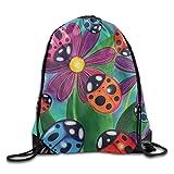 Ladybird And Flowers Drawstring Bags Portable Backpack Pocket Bag Travel Sport Gym Bag Yoga Runner Daypack