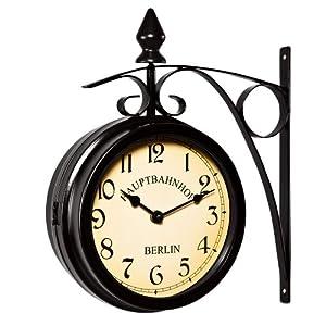 Deuba Reloj de Pared Estación de Tren Negro Estilo Vintage Doble Esfera – Hierro Forjado para Interior y terraza