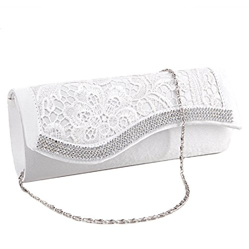 Diamantes Bridesmaid Floral Evening White Lace Wedding Clutch Stain Crystal Bag pwF6xqF