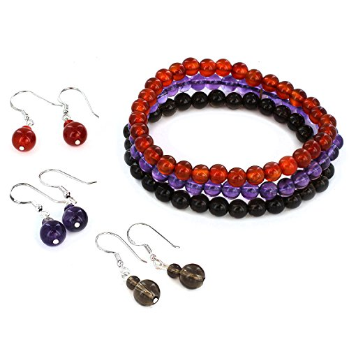 ELYA Jewelry Women's Beaded Bracelet and Earrings Set (Set of 3), Red, One Size