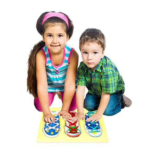 Onshine Wooden Learning Pretend Tie Shoe Games Educational Board Toys for Kids