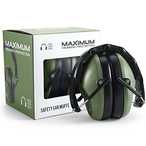 Pro For Sho 34dB Shooting Ear Protection - Special Designed Ear Muffs Lighter Weight & Maximum Hearing Protection - Standard Size, Army Green