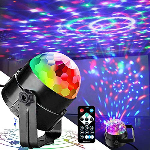 Disco Lights Party Lights QINGERS Dj Stage Light 7 Colors Sound Activated For Christmas KTV Club Lights Romantic decoration ()