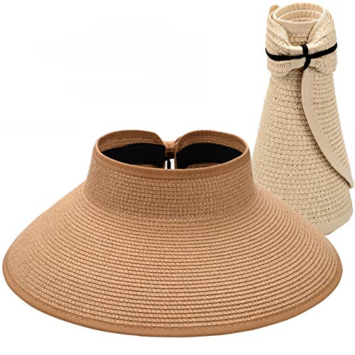 Maylisacc 2 Pack Foldable Topless-Hats Floppy Beach Straw-Visors for Women Khaki&Beige ()