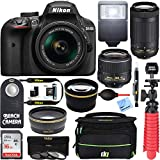 Cheap Nikon D3400 24.2MP DSLR Camera w/ AF-P 18-55 VR & 70-300mm Dual Lens Accessory Bundle, Black (Certified Refurbished)