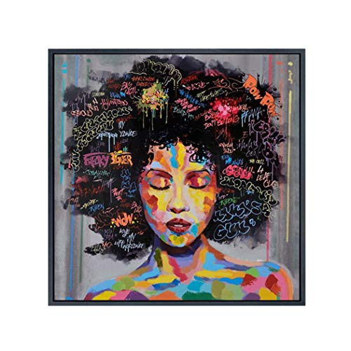 (GuGio Graffiti Street Wall Art Abstract Modern African Women Portrait Oil Painting Printed On Canvas for Living Room(50cm x 50cm))