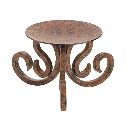 "Candle Holder Brown Basic Iron Scroll 3 Wick 6"" Wide Pillar Large Pedestal ()"