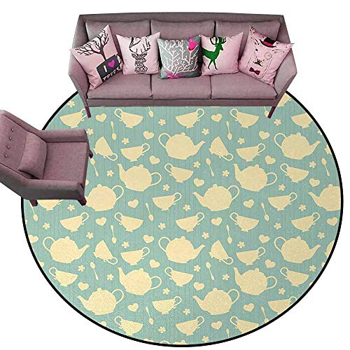 "Bathroom Carpet Tea,Tea Cup and Teapot Elements in Nostalgic British English Tradition Print,Light Yellow Turquoise Diameter 72"" Round Rugs for Bedroom"
