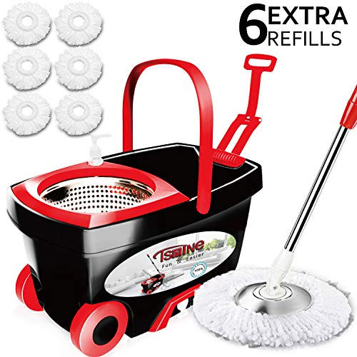 """Tsmine Spin Mop Bucket Floor Cleaning System, Stainless Steel Mop Bucket with Wringer on Wheels & Extend 61"""" Handle & 6 Microfiber Mop Heads, Mops for Floor Cleaning(Perfect for All Floor Types)"""