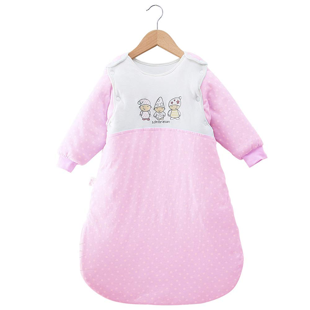 Kaxich Baby Sleeping Bag with Detachable Sleeves Winter Thickened 3.5 Tog fits Height 68~72cm Pink