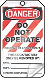 Accuform MLT405LTP HS-Laminate Lockout Tag, Legend''DANGER DO NOT OPERATE EQUIPMENT LOCKED OUT'', 5.75'' Length x 3.25'' Width x 0.024'' Thickness, Red/Black on White (Pack of 25)