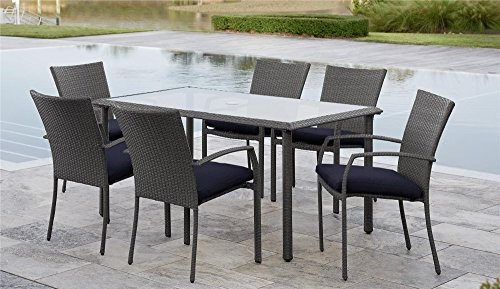 Cosco Outdoor Living 88597GBLE Cosco Outdoor Dining Set, Gray Blue ()