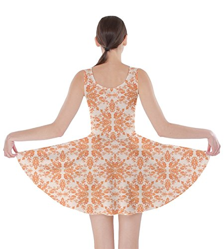 White Oriental Orange Golden XS Damask 5XL Dress Skater Arabesque CowCow Floral Womens Damask Black EtqnWwWBZF