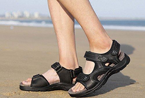 Spiaggia Uomo Velcro Outdoor da Black da Sandali Casual Moda Antiscivolo Scarpe qUfwp54I