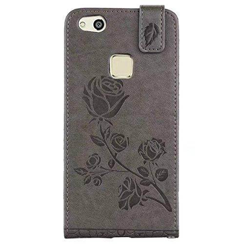 YHUISEN Huawei P10 Lite caso, en relieve Rose flor patrón vertical Flip caja de cuero con ranura para tarjeta Huawei P10 Lite ( Color : Rose Gold ) Gray