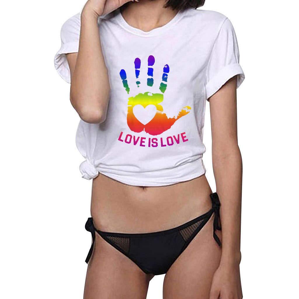 KINGWani ❤ Women Love is Love Shirt Short Sleeve T Shirt Blouse Tops Plus Size