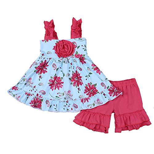 - Yawoo Haan Girls 2PCS Summer Flower Clothes Set Baby Ruffle Boutique Outfits A 7-8T