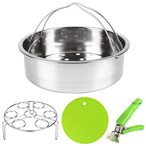 Instant Pot Accessories, VERONES Steamer Basket Set for Instant Pot Accessories with Egg Steamer Rack - Pot Holder - Multi-Purpose Hot Pads - Fits Instant Pot 5 6 8 qt Pressure Cooker (Basket Set Steamer)