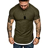 Cotton Pure Color Men's Scoop Neck Short Sleeve Fake Two Pieces Pullover Casual T-Shirts Top Army Green